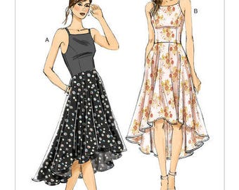 Vogue Pattern V9252 Misses' Princess Seam High-Low Dresses with Pockets