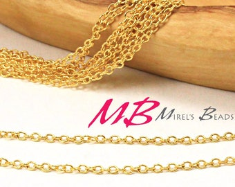 2mm Thin Gold Plated Chain, Flat Cable Chain, 5 Meter Spool