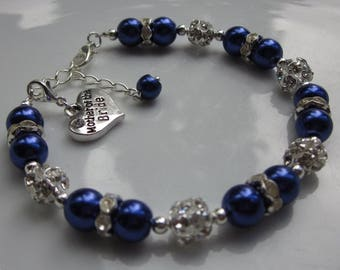 Blue bridesmaid charm bracelet, Mother of the bride groom gift, bridesmaid bracelet gift idea, something blue bride to be - CHOICE OF CHARM!
