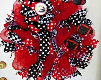 UGA Wreath, Georgia Bulldog Wreath, Red/Black Wreath, Georgia Wreath, Bulldog Wreath, College Wreath, Sports Wreath, Football Wreath