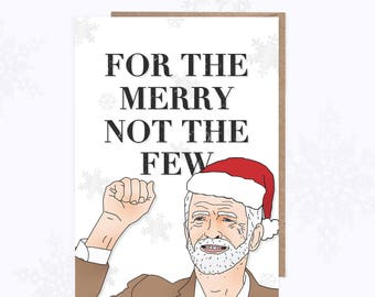 Christmas Card | Jeremy Corbyn Card | For The Many | Merry | Funny Xmas Card | Labour Party | Jezza