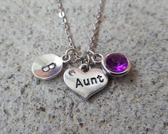 Aunt Necklace,Stainless Steel Chain, 12 mm Stamped Initial, Zinc and Lead Free, Stainless Steel Necklace