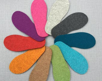 EU sizes Thick Felt Soles for Slippers and Socks with punch holes for easy stitching - all European sizes baby, child and adult