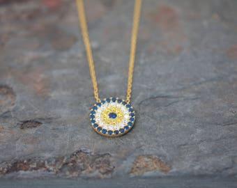 Medium round evil eye necklace