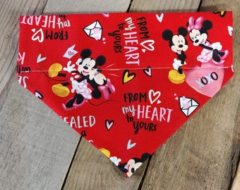 Red dog bandana, Valentine's Day dog Bandana, Mickey Mouse dog bandana, Love dog collar, Valentine's Day bandana, pink, hearts, dog collar