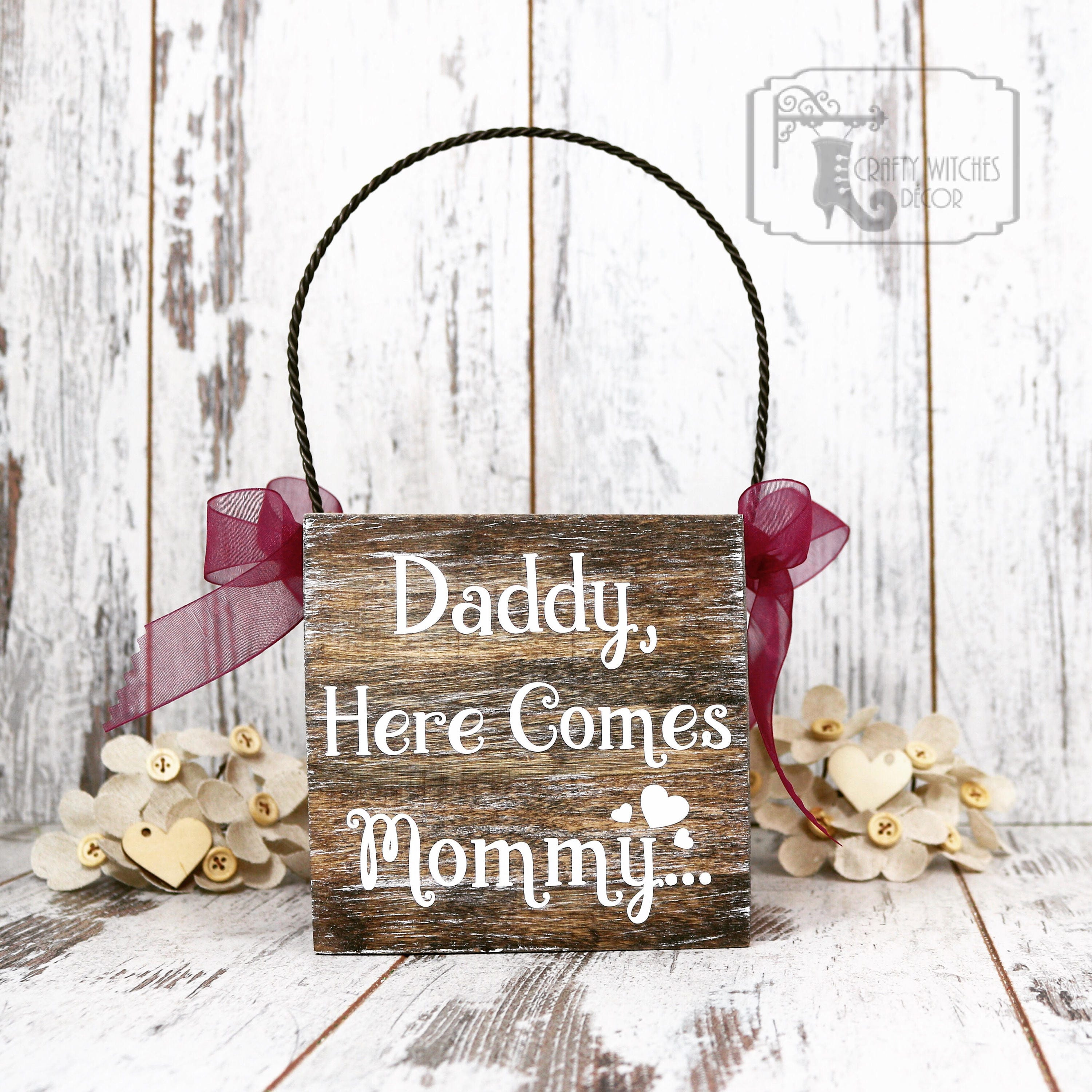 Flower Girl Baskets Canada : Daddy here comes mommy flower girl basket rustic