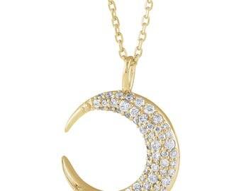 1/3 CTW Diamond Moon Necklace