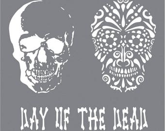 8 x 8 Andy Skinner Mixed Media Stencil, Day of the Dead, Reusable Stencils
