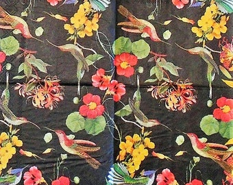 Two (2) Floral, Birds, Black Background, Paper Cocktail Napkins for Decoupage and Paper Crafts