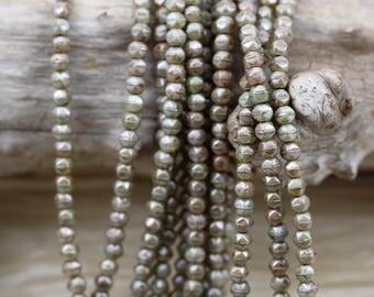 100pcs 3mm Opaque Green Ultra Luster Picasso English Cut Czech Glass Beads