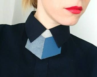 Unisex Sky Blue Leather shirt necklace,unique collar accessory, unisex bow tie alternative, statement necklace, bold necklace, shirt tie