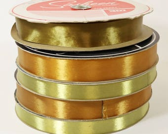 "5 Rolls Vintage 3M Sasheen Bow Maker Ribbon 250 Yards 7/8"" and 1 1/4"""