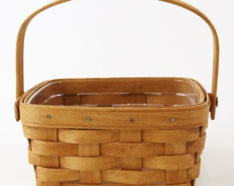 "1992 Longaberger 7 1/2"" Square Swing Handle Basket with Protector"