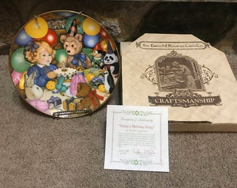 "Collector Plate ""Teddy's Birthday Party"" by Carol Lawson 1985 with COA and Box"