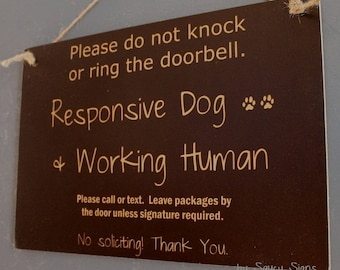 Black Responsive Dog Working Human Do Not Knock Warning No Soliciting Door Sign