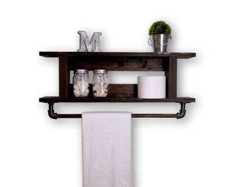 Two Tier Ladder Bathroom Shelf with Towel Bar