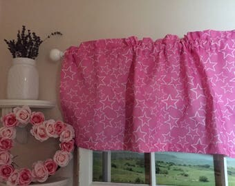 Stars on Pink Valance ~ 52 Inches Wide