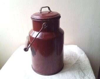 Kitchenalia - vintage chocolate brown small enamel milk can with lid  enamelware - milk pail pot