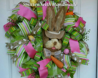 Easter Bunny Wreath, Sisal Rabbit Easter Wreath, Easter Door Decoration, Bunny Rabbit Easter Wreath, Cute and Fun Easter or Spring Wreath
