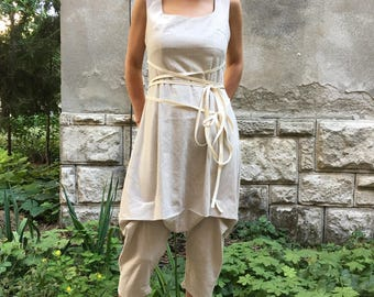Jumpsuit Women Harem Pants, Linen Jumpsuit ,Harem Jumpsuit ,Drop Crotch Pants ,Drop Crotch Jumpsuit Boho