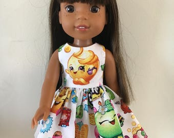 "Shopkins dress for 14.5"" dolls.  Lined top with generous full skirt.  Complete opening in the back for easy on and off."