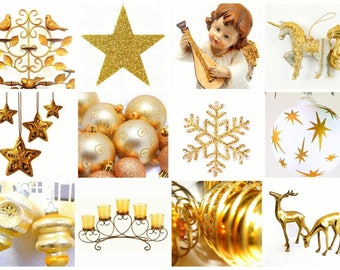 Laminated placemat white and gold Christmas ornaments