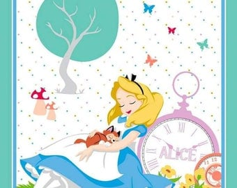 Alice in Wonderland Cotton Panel 36 inches by 43 inches