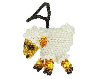 Hand-Beaded Sheep Ornament