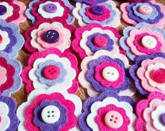 Handmade Felt Flowers, Pink and Purple Flower Embellishments, Felt Flowers, Layered Flowers, Flower Appliques