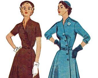 Vintage 50s Dress Pattern Asymmetrical Button Front Flared Dress With Notched Neckline 1950s Sewing Pattern Simplicity 4087 Size 16 Bust 34