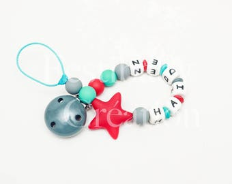 """Custom 100% silicone beads pacifier clip - model """"Haiden"""""""