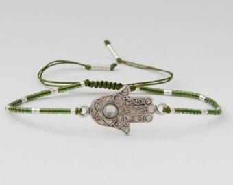 Khamssa green and silver bracelet