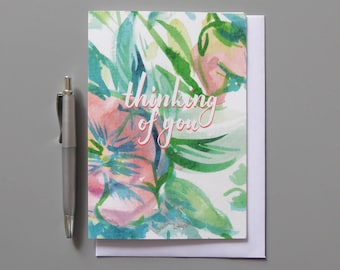 Thinking of you, Thinking of you greeting Card, Floral Card, Card for her, Blank inside card