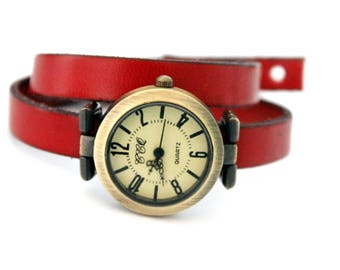 Red leather strap watch two laps adjustable with bronze dial