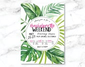 YOU PRINT Personalized Bachelorette Weekend Invitation / Tropical / Beach / Hot Pink / Bachelorette / Invite