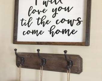 Cows Come Home Wood Custom Framed Sign