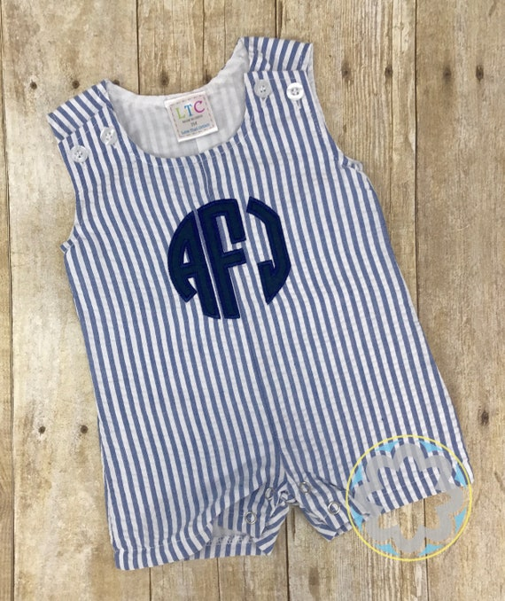 Monogrammed, Personalized Baby Boy Seersucker Shortall, Jon Jon - Baby Boy Gift - Baby Shower Gift - 4th of July Outfit
