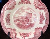 Old Britain Castles Pink Rimmed Dessert Bowl by Johnson Brothers, Denbeigh Castle, Made in England Historical Collectible
