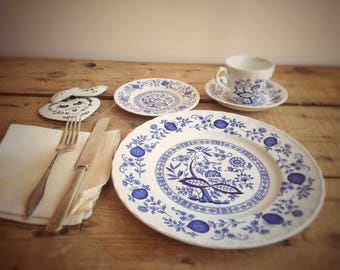 Wedgwood Blue Heritage Blue Onion Ironstone Dinner Service, Blue Transferware 4 Pc Place Setting - Cup, Saucer, Side Plate, Dinner Plate