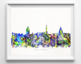 La Paz Skyline Print, Bolivia Print, La Paz Poster, Bolivian Cityscape, Wall Art, City Skyline, Wall Decor, Gift For Her Decor, Gift For Her