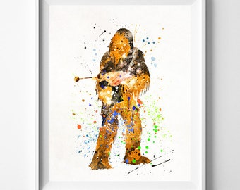 Star Wars Poster, Chewbacca, Star Wars Watercolor, Chewbacca Print, Star Wars Gift, Chewbacca Art, Star Wars Wall Art, Valentines Day Gift