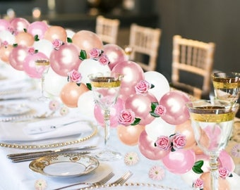 Balloon Garland Kit, Balloon Arch, DIY Balloon Garland Kit Pink, Light Pink, Rose Gold, White and Peach, Centerpiece, Wedding Centerpiece