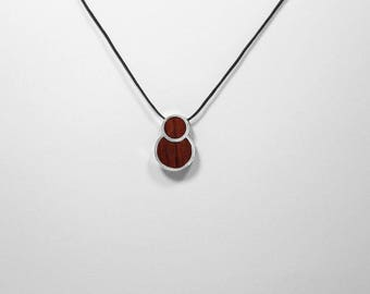 PENDANT GEOMETRIC Wooden High quality Handmade Jewelry by Silver 925 and Rosewood