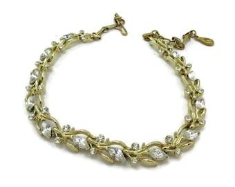 KRAMER Rhinestone Gold Tone Choker Necklace Designer Signed Bridal Jewelry Gift Ideas 17 Inches  High End Vintage Costume Prom paula