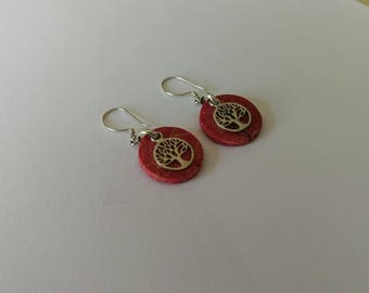 Handmade Solid 925 Sterling silver and red coral earring.