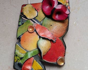 "Pendant, ""Autumn colors"", polymer clay, unique, handmade, original design"