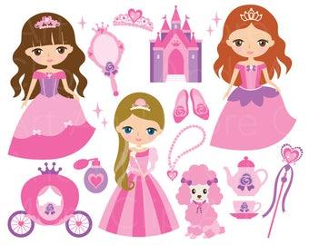 Princess Clipart Princess Clip Art Pink Fairytale Princess Clipart Cute Princess Clipart Princess Castle Clipart Princess Carriage Clip Art