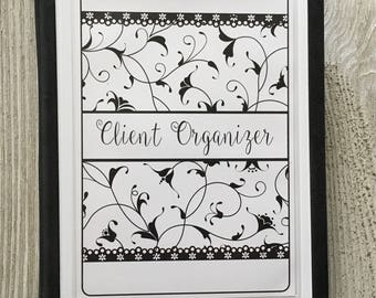 Hair Stylist Client Organizer - Black & White Swirls Design