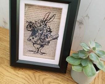 White Rabbit - Alice's Adventures In Wonderland - Papercut - Handcut and Framed -