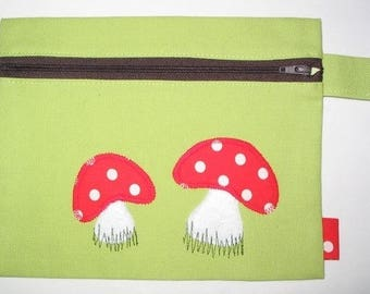 Small cosmetic clutch bag - mushrooms / lime green